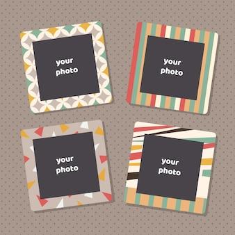 Creatieve fotolijsten met kunsttextuur. decoratieve afbeeldingsframe randen voor familieportretten