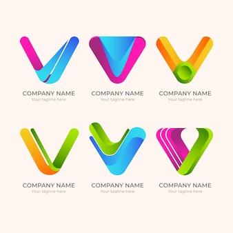 Creatieve gedetailleerde v-logo's