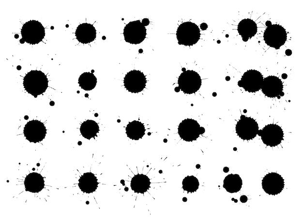 Creatieve geïsoleerde verfborstelvlekken. inktvlekken abstracte vormvlekken instellen met textuur. grunge ontwerpelementen. verzameling van verschillende druppels.