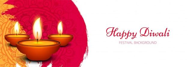 Creatieve gelukkige diwali-vieringbanner