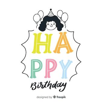 Creatieve gelukkige verjaardag belettering achtergrond