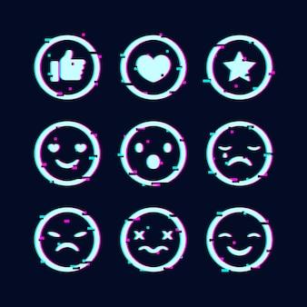 Creatieve glitch emoji-collectie