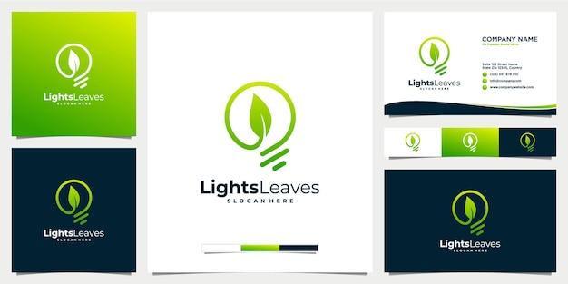 Creatieve gloeilamp en blad logo ontwerpsjabloon met visitekaartje