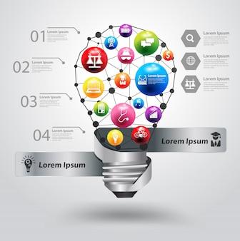 Creatieve gloeilamp met het ideeconcept van het pictogramonderwijs