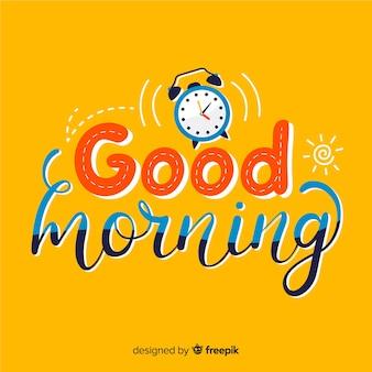 Creatieve goedemorgen belettering illustratie