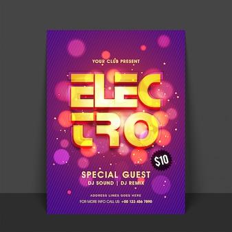 Creatieve gouden tekst elektro op glanzende abstracte cirkels achtergrond. gloeiend flyer-, sjabloon- of bannerontwerp voor de feestfeest van de muziekfeest.