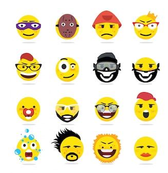 Creatieve grappige emoji-emoticons in vlakke stijl