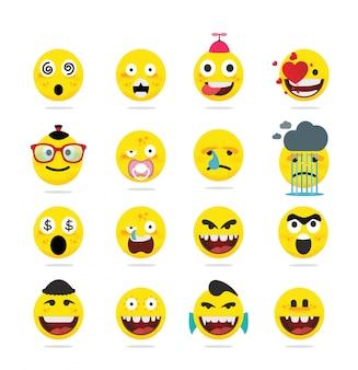 Creatieve grappige emoji-emoticons in vlakke stijl Premium Vector