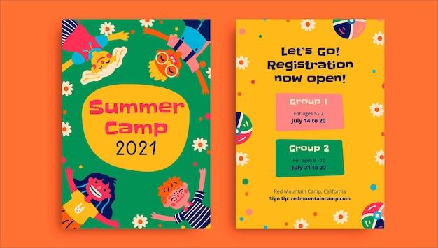 Creatieve grappige zomerkamp flyer