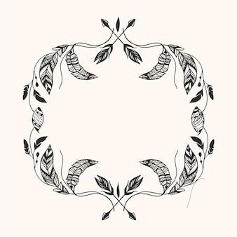 Creatieve gravure handgetekende boho frame
