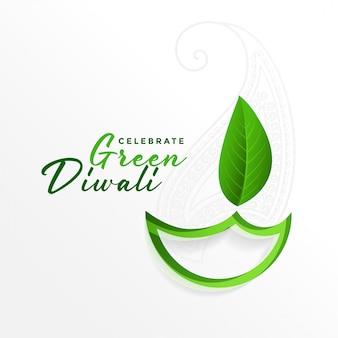 Creatieve groene diya-achtergrond voor eco groene diwali