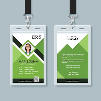 Creatieve groene id-kaart ontwerpsjabloon
