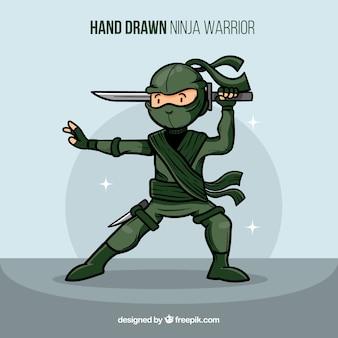Creatieve hand getekend ninja krijger