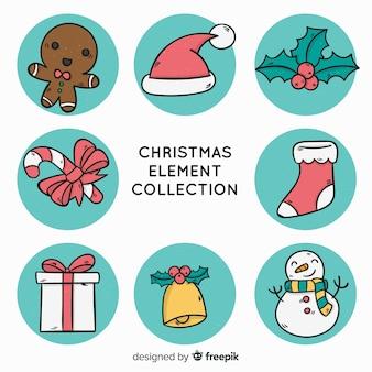 Creatieve hand getrokken kerst elementen collectie Gratis Vector