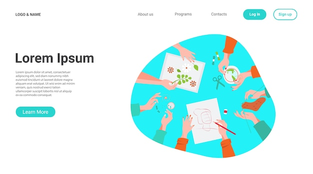 Creatieve handgemaakte workshop platte vectorillustratie