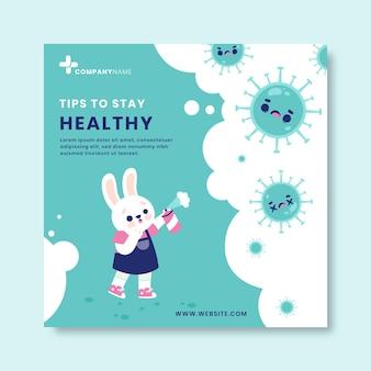 Creatieve handgetekende coronavirus facebook-bericht