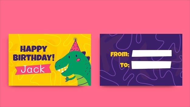 Creatieve handgetekende dinosaurus dier cadeau-tag