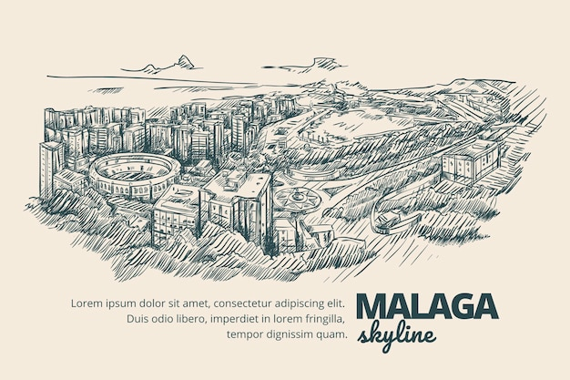 Creatieve handgetekende skyline van malaga