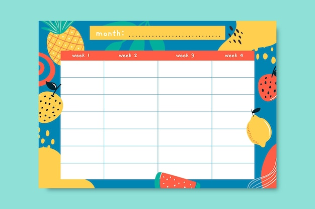 Creatieve handgetekende voedsel maandkalender