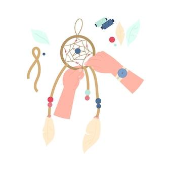 Creatieve handwerkworkshop ambachtelijke les of hobby dromenvanger maken