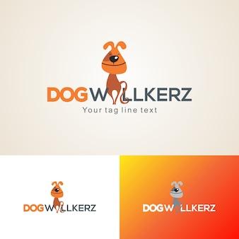 Creatieve hond wandelaars logo ontwerpsjabloon