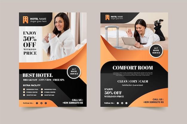 Creatieve hotel informatie folder sjabloon met foto