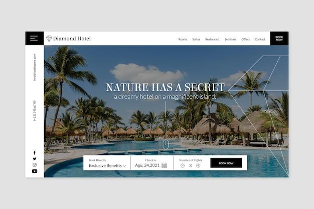 Creatieve hotellandingspagina met foto