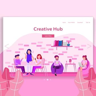 Creatieve hub coworking space landing page illustratie