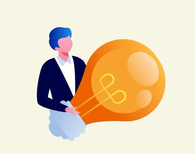 Creatieve ideeën concept brainstormen vertegenwoordigen met buld lichte platte vector illustratie banner