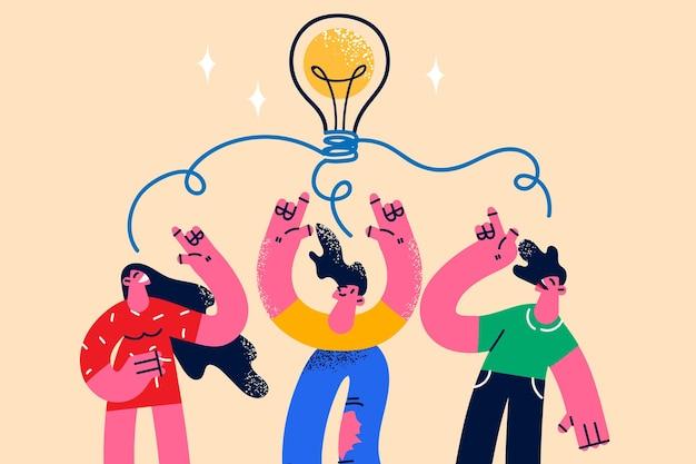 Creatieve ideeën, innovatie in bedrijfsconcept. jonge lachende zakenmensen stripfiguren opstaan met handen omhoog met geweldige ideeën in gedachten vectorillustratie