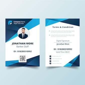 Creatieve identiteitskaart-sjabloon met foto Gratis Vector