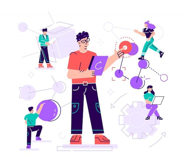 Creatieve illustratie. de wetenschapper voert laboratoriumstudies uit en bestudeert de statistische gegevens van de resultaten. samengestelde malekul en atomen. moderne technologie machine learning, kunstmatig
