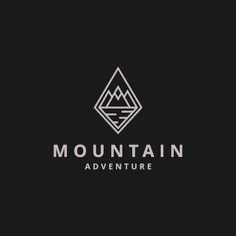 Creatieve illustratie eenvoudige berg geometrische lijntekeningen logo ontwerp vector