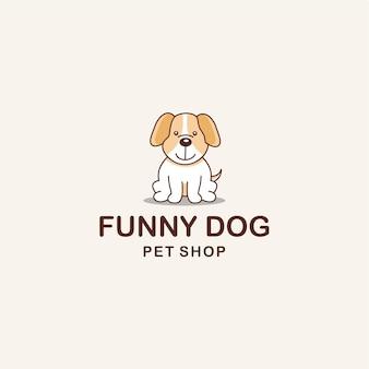 Creatieve illustratie grappige hond dier teken logo ontwerp sjabloon vector