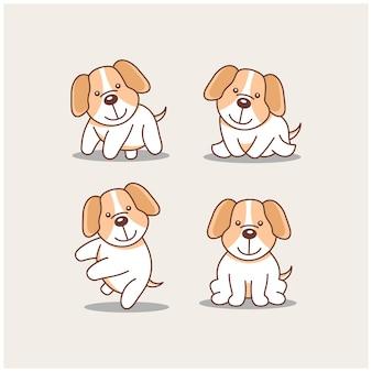 Creatieve illustratie hond cartoon dier karakter mascotte teken logo ontwerpsjabloon