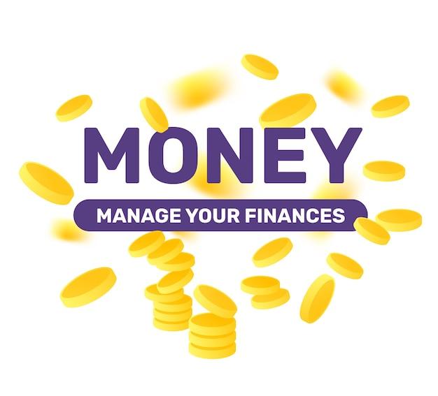 Creatieve illustratie met financiële titel, gouden vliegmuntstuk