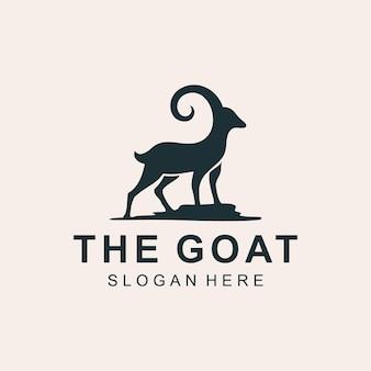 Creatieve illustratie silhouet staan geit dier logo pictogram ontwerp vector graphictemplate