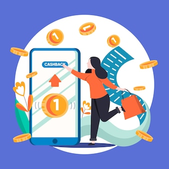 Creatieve illustratie van cashbackconcept met telefoon