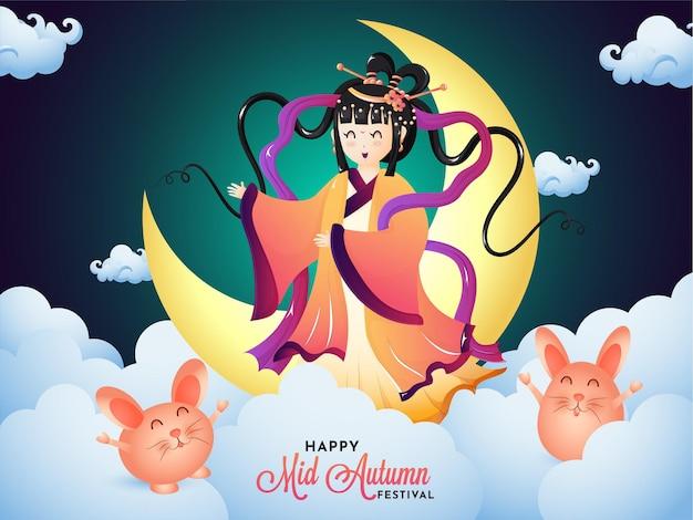 Creatieve illustratie van de godin van de maan en het konijn voor de viering van het vintage medio herfstfestival.
