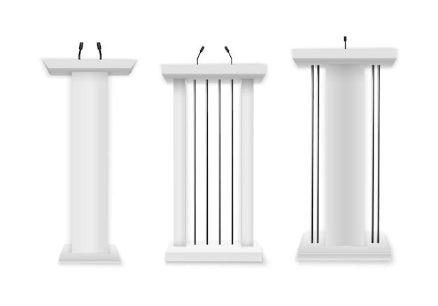 Creatieve illustratie van een podiumtribune met microfoons op een transparante achtergrond. wit podium, tribune met microfoons. zakelijke presentatie of conferentie toespraak realistische 3d-stands.