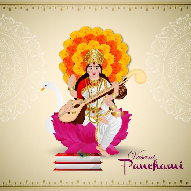 Creatieve illustratie van godin saraswati voor gelukkige vasant panchami
