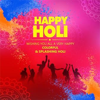 Creatieve illustratie van happy holi-poster