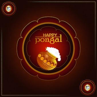 Creatieve illustratie van happy pongal met modderpot en achtergrond