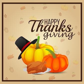Creatieve illustratie van happy thanksgiving day met pompoen en kip