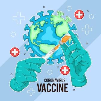 Creatieve illustratie van het coronavirusvaccin