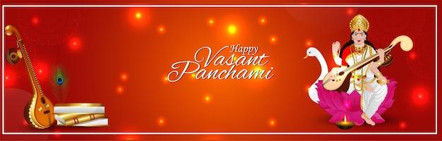 Creatieve illustratie van het ontwerp van de banner van de godin saraswati happy vasant panchami
