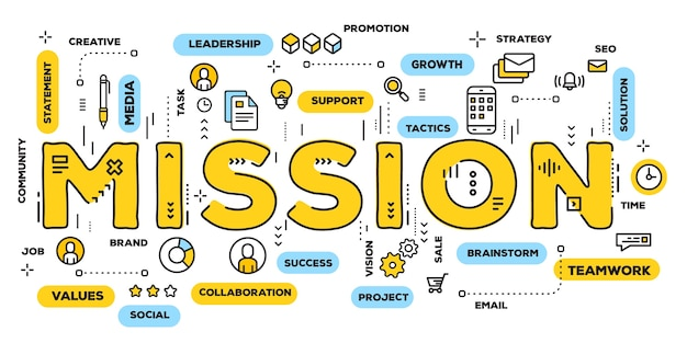 Creatieve illustratie van missie gele woordtypografie met lijnpictogrammen en tagwolk