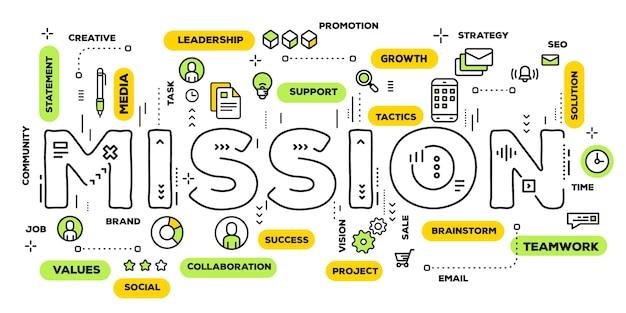 Creatieve illustratie van missie woord belettering typografie met lijn pictogrammen