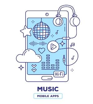 Creatieve illustratie van mobiele telefoon met koptelefoon