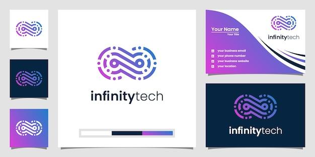 Creatieve infinity tech logo-inspiratie en visitekaartje